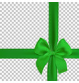 realistic green bow and ribbon isolated on vector image vector image