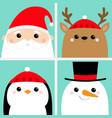 santa claus raindeer deer snowman penguin bird vector image vector image