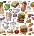 seamless pattern with famous fast food and drinks vector image