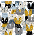 semless trendy pattern with cute cats vector image vector image