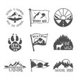 set nine black travel emblems camping outdoor vector image vector image