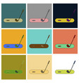 set of icons in flat design golf stick and hole vector image vector image