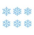 set of snowflakes isolated on background vector image