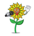 singing sunflower mascot cartoon style vector image vector image