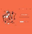 social media - line design style isometric web vector image