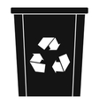 Trash bin with recycle symbol icon simple style vector image vector image