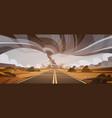 twisting tornado over high road hurricane vector image vector image