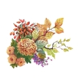 Watercolor autumn background with dogwood and vector image vector image