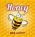 a friendly cute bee with smile on honey background vector image