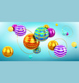 abstract background with 3d spheres and gold rings vector image vector image