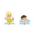 adorable little boys brushing teeth set daily vector image vector image