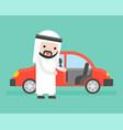 arab businessman or salesman open cars door for vector image