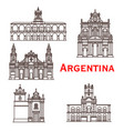argentina landmarks buildings line icons vector image