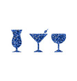 blue abstract cocktail icons vector image vector image
