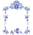 Blue floral frame in gzhel style vector image