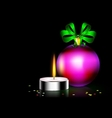 candle Christmas ball vector image