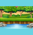 cartoon of river in the forest and silhouettes bac vector image