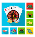 casino and equipment flat icons in set collection vector image vector image