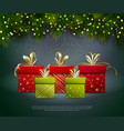christmas gifts poster vector image vector image