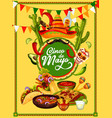 cinco de mayo fiesta party food and drink banner vector image vector image