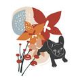 cute bulldog in santa hat vector image