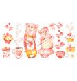cute family couple hug bears watercolor nursery vector image vector image
