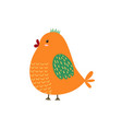 cute orange bird funny character isolated element vector image vector image