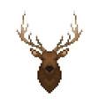 deer head pixel art wild animal vector image vector image