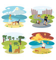 dog and its owner set vector image vector image