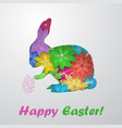easter hare of flowers with egg vector image vector image