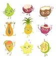 Exotic Fruits Girly Cartoon Characters Set vector image