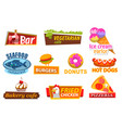 fastfood label candy and meat symbol meal vector image vector image