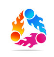 flaming fire group of friends icon vector image