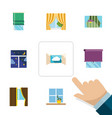 flat icon window set of glass frame glass cloud vector image vector image