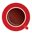 full red cup black tea or coffee on white vector image vector image