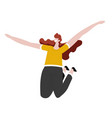 girl jumping with raised hands isolated female vector image
