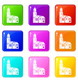 houses icons 9 set vector image vector image