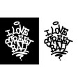 i love street ball graffiti tag in black over vector image