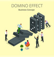isometric man start domino effect a and chain vector image