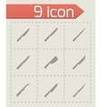 kitchen knife icon set vector image vector image