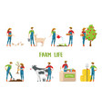 man and woman doing farm work gardening vector image vector image