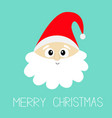 merry christmas santa claus face head wearing red vector image