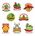 mexican restaurant icons cartoon emblems vector image