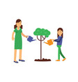mother and kid girl cartoon characters growing and vector image vector image
