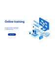 online training 3d lp template 2 vector image