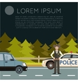 Police on the road Banner1 vector image vector image