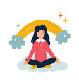positive young girl sitting on a cloud vector image vector image