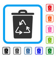 recycling bin framed icon vector image vector image