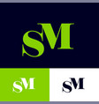 s and m monogram letters combined vector image