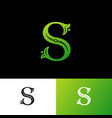 s green letter monogram ornament plants vector image